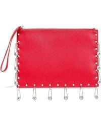 Versus Embellished Textured-leather Pouch Red