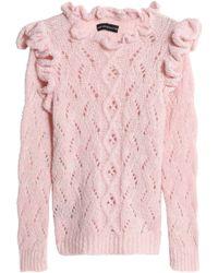 Antik Batik - Ruffled Open-knit Alpaca-blend Sweater - Lyst