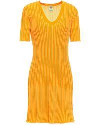 M Missoni - Striped Ribbed Cotton-blend Mini Dress - Lyst