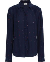 Joie Printed Crepe Shirt Midnight Blue
