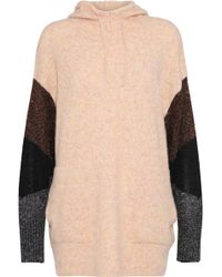 5f96fa13a4 By Malene Birger - Woman Brunilde Metallic-paneled Knitted Hoodie Peach -  Lyst