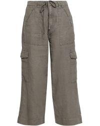 Joie - Woman Cropped Linen Wide-leg Pants Grey Green - Lyst