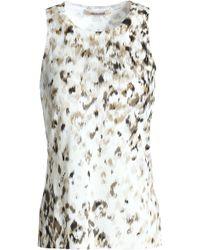 Roberto Cavalli - Woman Printed Silk Top Ivory - Lyst
