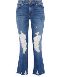 J Brand - Selena Distressed Cropped Mid-rise Bootcut Jeans - Lyst
