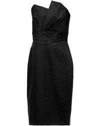 Michelle Mason Strapless Pleated Cotton-blend Jacquard Mini Dress - Black
