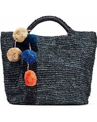 Kayu - Belle Pompom-embellished Woven Straw Tote - Lyst