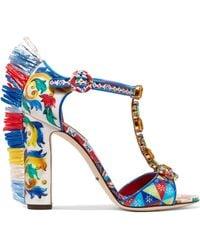 Dolce & Gabbana - Bianca Raffia-trimmed Embellished Printed Patent-leather Sandals - Lyst