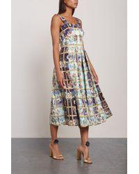 Mary Katrantzou Pleated Printed Faille Midi Dress Sky Blue