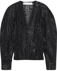 IRO Teruja bluse aus einer seidenmischung mit metallic-fil-coupé - Schwarz