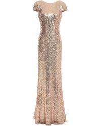 Badgley Mischka Open-back Draped Sequined Tulle Gown - Metallic