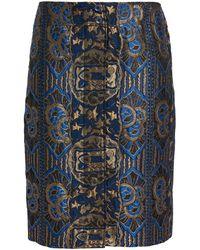 Etro Button-detailed Silk-blend Jacquard Skirt - Blue