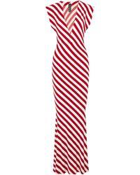 Norma Kamali Striped Stretch-jersey Maxi Dress Red