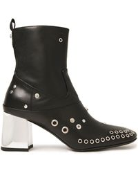 McQ Phuture Embellished Leather Ankle Boots Black