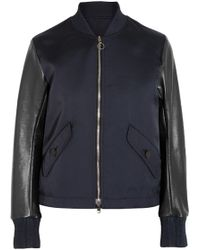 Tim Coppens - Lace-up Leather And Twill Bomber Jacket - Lyst