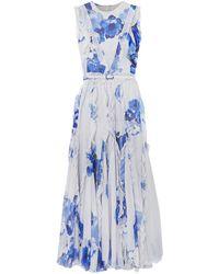 Costarellos Ruffled Pleated Floral-print Chiffon Maxi Dress - Blue