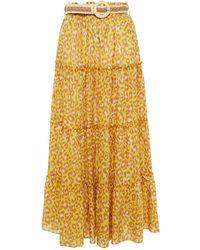 Zimmermann Gestufter maxirock aus baumwolle mit leopardenprint und gürtel - Gelb