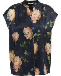 Vince Floral-print Silk-satin Top - Black