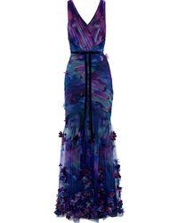 Marchesa notte Velvet-trimmed Appliquéd Printed Tulle Gown - Blue
