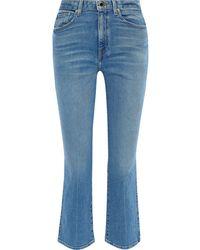 Khaite Benny Faded High-rise Kick-flare Jeans Mid Denim - Blue