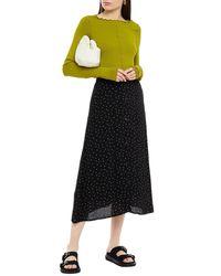 Gestuz Polka-dot Crepe De Chine Midi Skirt - Black