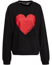 Love Moschino Printed French Cotton-blend Terry Sweatshirt - Black