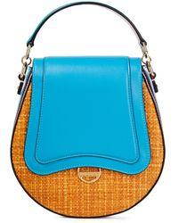 Emilio Pucci Dora Mini Leather And Raffia Tote - Blue