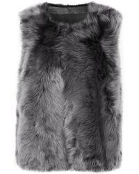 Karl Donoghue Reversible Shearling Vest Grey