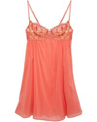 I.D Sarrieri Embroidered Tulle-paneled Silk-blend Chiffon Chemise - Pink