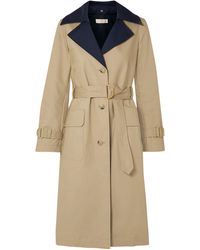 Tory Burch Ashby Two-tone Cotton-canvas Trench Coat Beige - Natural