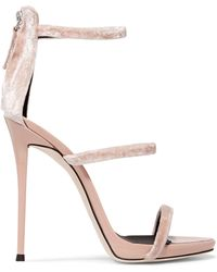 000f9758f8e Giuseppe Zanotti - Woman Velvet And Patent-leather Sandals Blush - Lyst