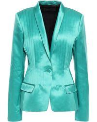 Haider Ackermann Pleated Silk And Cotton-blend Satin Blazer Jade - Multicolour