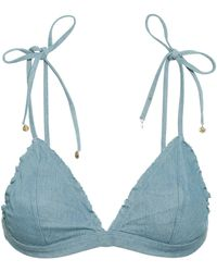 b76de7be49 ASOS Denim Triangle Bikini Top in Blue - Lyst
