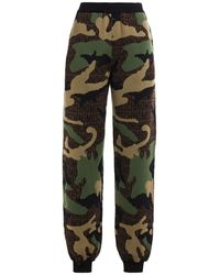 Moschino Jacquard-knit Wool Track Trousers Army Green