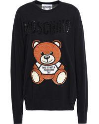 Moschino Embellished Wool Jumper Black