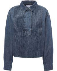 Current/Elliott Pintucked Denim Shirt Mid Denim - Blue