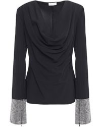 Ronny Kobo Sandra Draped Sequin-embellished Crepe De Chine Blouse Black