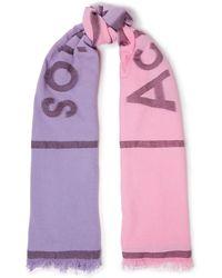Acne Studios Schal aus einer baumwollmischung mit fil coupé, farbverlauf und fransen - Pink