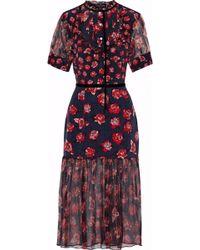 Markus Lupfer - Susie Floral-print Silk-chiffon And Crepe De Chine Midi Dress - Lyst