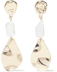 Kenneth Jay Lane Hammered Gold-plated Faux Pearl Earrings Gold - Metallic