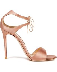 Gianvito Rossi Leather-trimmed Satin Sandals Antique Rose - Pink