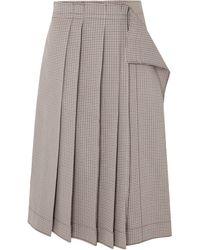 Cedric Charlier - Pleated Gingham Cotton-blend Midi Skirt Gray - Lyst