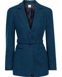 Iris & Ink Felicity Belted Houndstooth Wool-blend Felt Blazer - Blue