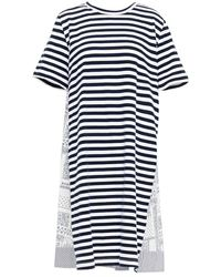 CLU Panelled Printed Cotton-poplin And Jersey Dress - Blue