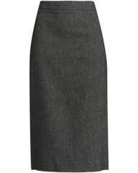 DKNY - Paneled Linen Pencil Skirt - Lyst