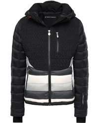 Perfect Moment Matelassé And Quilted Striped Shell Hooded Down Jacket Black