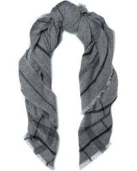 Brunello Cucinelli - Metallic Checked Intarsia-knit Scarf - Lyst