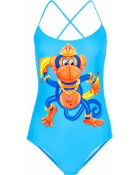 Moschino - Woman Printed Swimsuit Light Blue - Lyst