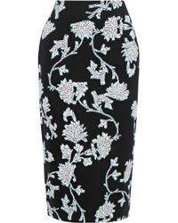 5a26b54118 Diane von Furstenberg - Kara Printed Stretch-cady Pencil Skirt Black - Lyst