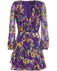 Saloni Jodie Ruffle-trimmed Floral-print Devoré-velvet Mini Dress Purple