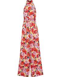 Rebecca Vallance Blume Floral-print Crepe Halterneck Wide-leg Jumpsuit - Red